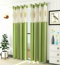 New Floral Net Polyester 7 ft Door Curtain (Green) -2 Pieces