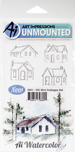 Art Impressions Watercolor Cling Rubber Stamps -Mini Cottages