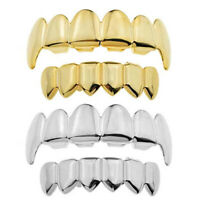 14k Gold Silver Plated Fang Grillz Set Top Bottom Teeth Hip Hop Mouth Grill