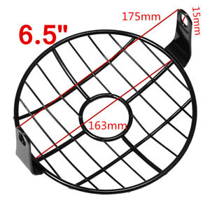 """6.5"""" Mesh Grille Motorcycle Metal Side Mount Headlight Lamp Cover Cafe Racer"""