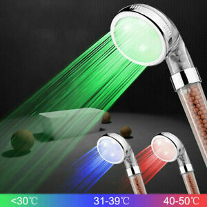 7 Color LED Bathroom Shower Heads High Turbo Pressure Anion Stone Filter Water