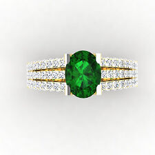 Oval Cut 2.54 Ct Natural Diamond Emerald Gemstone Ring Size N H 14K Yellow Gold