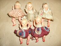 """5 lot Tiny Antique Dime Store ~ 2.5"""" Doll Baby Moveable Arms Legs + 2 for Parts"""