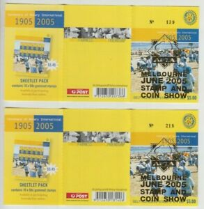 Stamps Australia 2005 Rotary booklet pair APTA Melbourne overprint 2 barcodes
