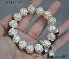 93 g Pure silver Om Mani Padme Hum Scripture prayer Beads amulet Bangle Bracelet