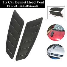 2PC Black Car Hood Air Flow Scoop Bonnet Decoration Sticker 52*14cm Fender Cover