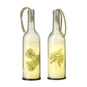 Light Up Bottle Set Botanical Theme Shabby Chic Rope Handle Battery Large 70cc