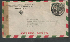 Mexico 1944 WWII censor 6948 cover Warner Brothers Films to John Dodd NY