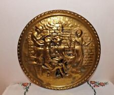 "MADE IN ENGLAND BRASS HIGH RELIEF ""AT THE PUB"" WALL PLAQUE 8-1/4"" SIGNED PATINA"