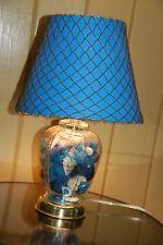 Coastal Beach table lamp - blue sea glass & shells + Blue fish net Shade 16 tall