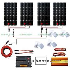 4PCS 160W 12V Mono Solar Panel & 20A CMG Controller 1KW 24V-220V Inverter for RV
