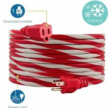 Philips Extension Cord 25' 1-Outlet Grounded Red & White Candy Cane Outdoor