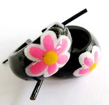 Handmade Unisex Coconut Wood Hoop Pink Flower Earrings Hippy Surfer Ladies