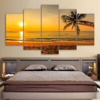 Tropical Sunset Beach Seascape 5 pcs HD Art Poster Wall Home Decor Canvas Print