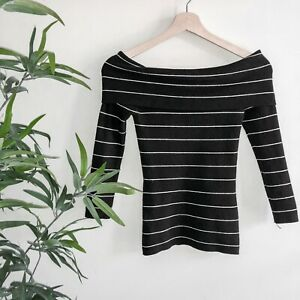 FOREVER NEW | XS (AU 8) | Black with Silver Stripe Long Sleeve Off Shoulder Knit