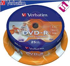 X200 DVD VERBATIM PRINTABLE DVD - R 16 X 43538 4.7 GB IMPRIMABLE TARRINAS 25 UDS