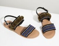 JIGSAW leather beaded Minna pom slingback flat sandals with pom poms size 3 36