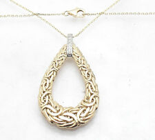 Natural Diamond Accent Drop Byzantine Pendant Cable Chain Real 14K Yellow Gold