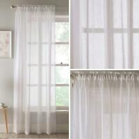 White Voile Panel Recycled Polyester Slot Top Panels Rod Pocket Sheer Voiles