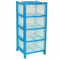 4 Drawer Blue Plastic Large Tower Storage Drawers Chest Unit with Wheels