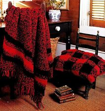 RUSTIC DUO - WOODSMAN STRIPES & BUFFALO CHECKS  VINTAGE AFGHAN CROCHET PATTERNS