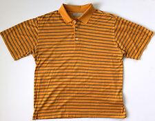 Greg Norman Mens Play Dry Fit Orange Striped Short Sleeve Golf Polo Shirt Sz L