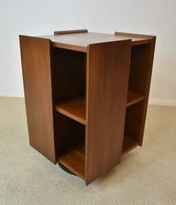Mid Century Modern Teak Revolving Bookcase