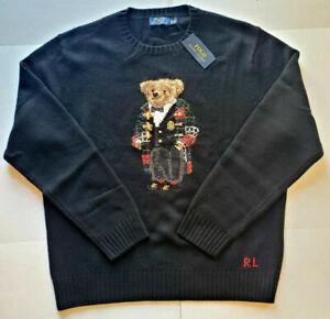 Polo Ralph Lauren Stadium Duffel Coat Snow Bear Holiday Wool Patch Work Sweater