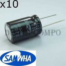 Condensateur 100V 220UF électrolytique 16x26mm RM7.62 Samwha (lot de 10)