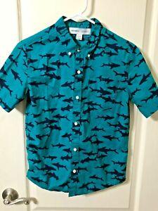 OLD NAVY SHARKS Short Sleeve Green Shirt Button Front Boy's Size - XL (14-16)