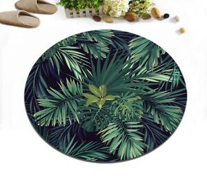 Dark Green Plant Leaves Bedroom Floor Non-slip Round Bath Mat Rug Yoga Carpet