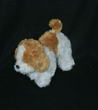Peluche doudou chien GIPSY brun marron blanc yeux durs 20 cm de long TTBE