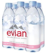 evian Natural Spring Water 500 ml, 16.9 Ounce Pack of 6 Plastic Bottled