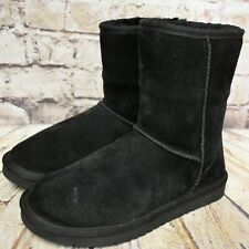 Womens Koolaburra Black Suede Sheepskin Pull On Winter Boots Size UK 4.5 EUR 37