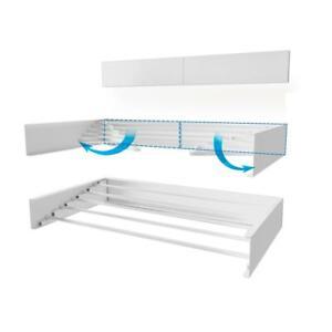 "27.5"" x 3.9"" White Wall Mount Retractable Indoor/Outdoor Laundry Garment Rack"