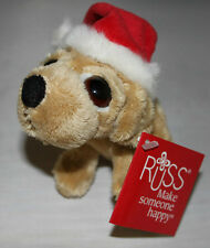 RUSS LIL PEEPERS SOFT TOY - LABRADOR DOG WITH CHRISTMAS HAT - BNWT