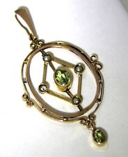 Victorian Peridot and Pearl 9ct Rose Gold Lavaliere Necklace Pendant