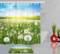 Spring Dandelion Field Bathroom Hooks 100% Polyester Fabric Shower Curtain Sets