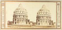 Italia Pisa il Battistero Foto G.Sommer, Stereo Vintage Albumina Ca 1865