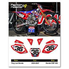2005-2007 HONDA CRF 450 Dirt Bike Graphics Motocross Custom Number Plates TLD