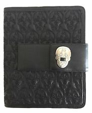 THOMAS WYLDE  BLACK LEATHER IPAD CASE, STAND with EMBROIDERED SKULLS. RARE