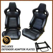 Pair BB6 Reclining Bucket Sports Seats Black + Adaptor Plates LANDROVER DEFENDER