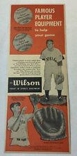 1951 Wilson baseball gloves+balls ad ~ BOB FELLER, TED WILLIAMS