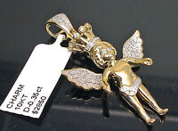 "10K Men's/ Ladies Yellow Gold Angel Charm With Crown 0.35CT Diamond 1.5"" Long"