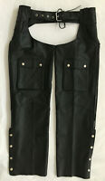 RIVER ROAD LEATHER Black Leather Motorcycle PANT Belted BIKER CHAPS XL
