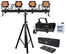 Chauvet DJ 4Bar Flex T USB D-Fi DMX LED Light Bar+Stand+Case+Foot Switch+Fogger