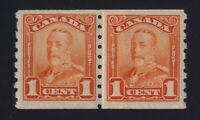 Canada Sc #160i (1929) 1c orange KGV Scroll Coil Paste-Up Pair Mint VF NH