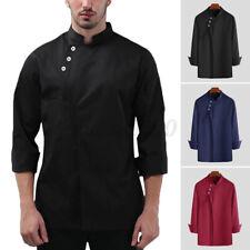 Mens Long Sleeve Chef Kitchen Cooker Shirt Work Restaurant Coat Jacket Uniform