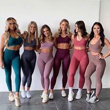 Женские антицеллюлитные йога костюм верх, бюстгальтер пуш-ап брюки леггинсы дамы спортзал фитнес
