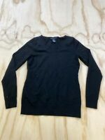 BANANA REPUBLIC WOMEN SIZE XS BLACK MERINO WOOL V NECK SWEATER EUC